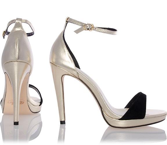 baci riemchen metallic leder high heel sandalen mit velours sandalen tiefer absatz high. Black Bedroom Furniture Sets. Home Design Ideas